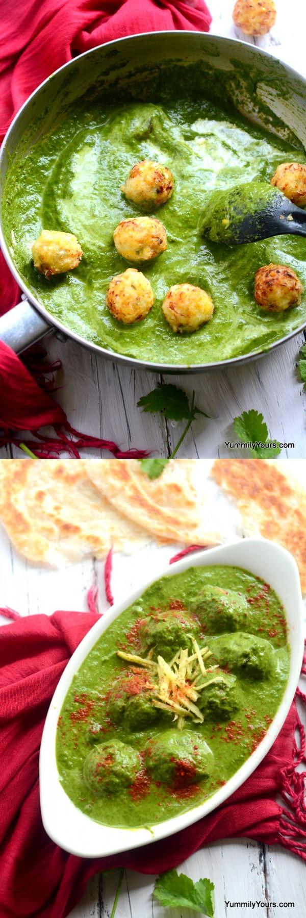 Corn koftas in a spinach curry