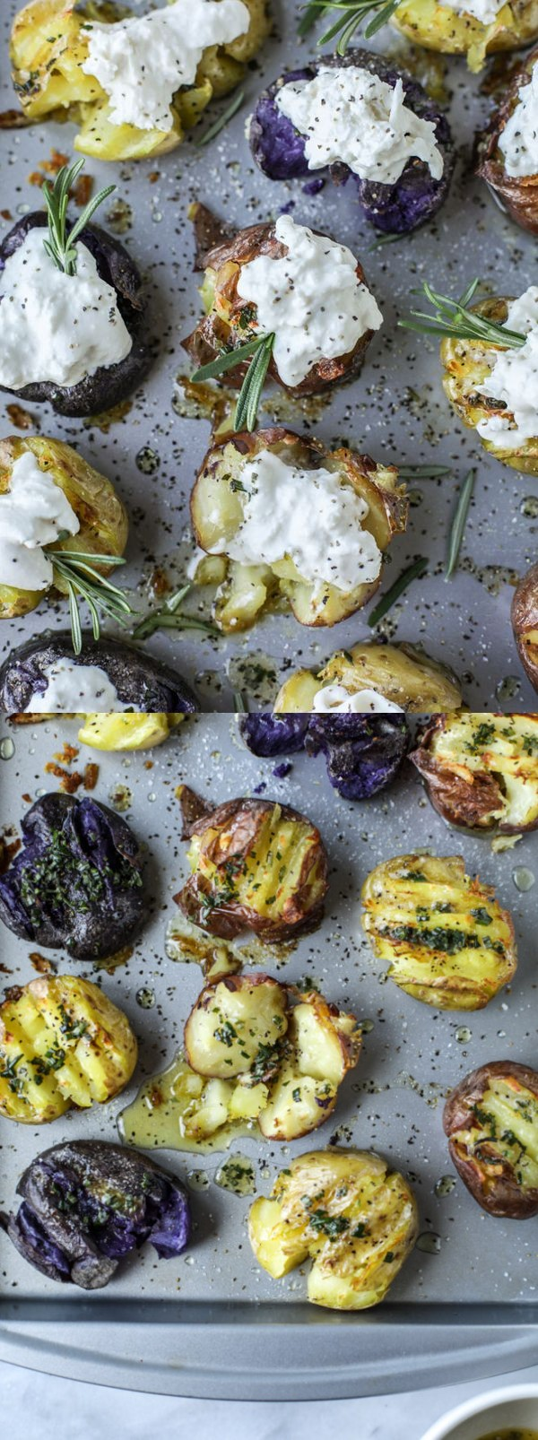 Buttered Rosemary Smashed Potatoes with Burrata