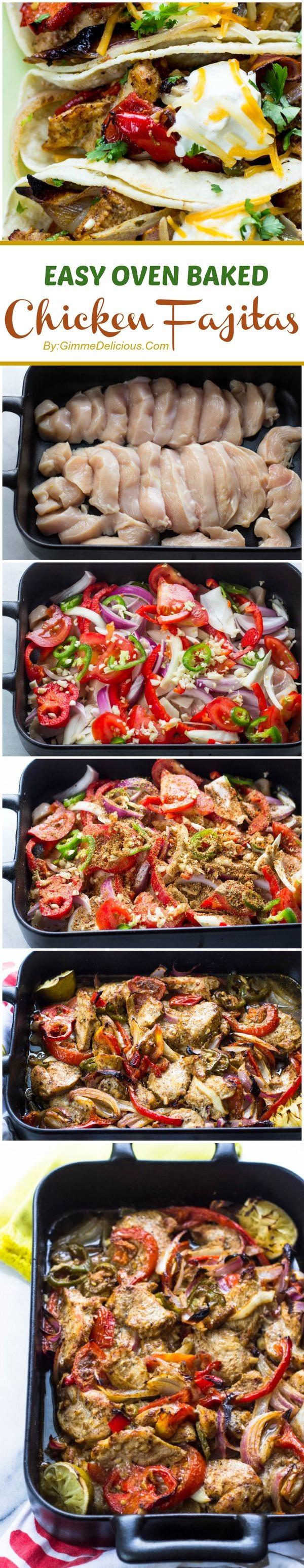 Easy Oven Baked Skinny Chicken Fajitas