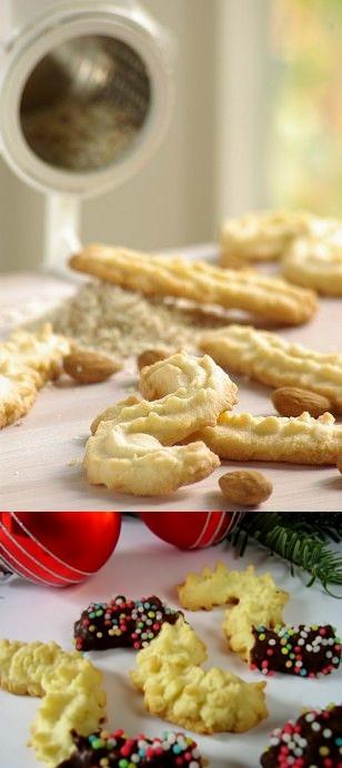Mandelspritzgebäck (German Christmas Almond Cookies