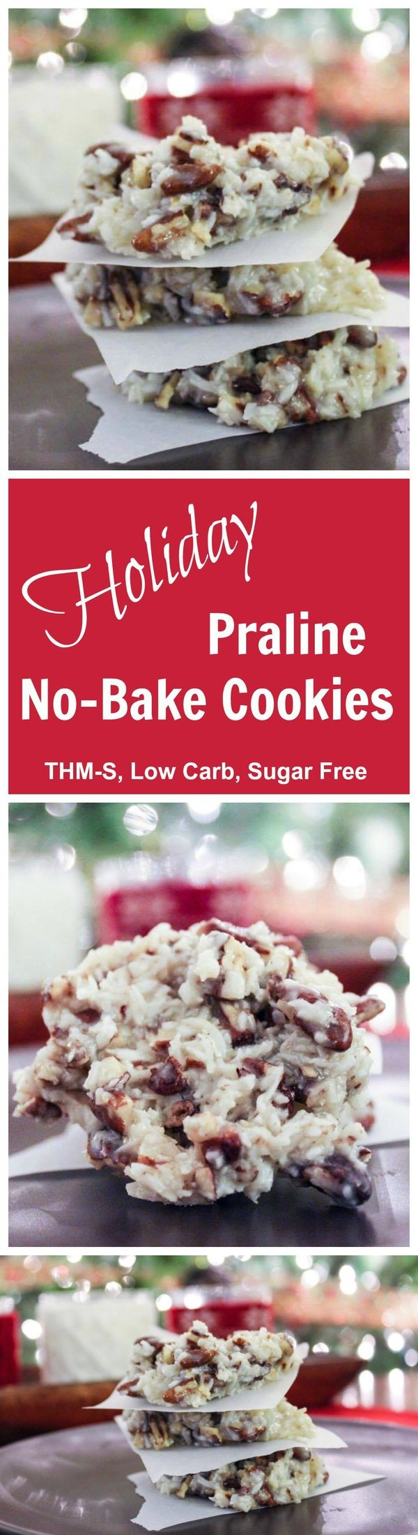 Holiday Praline No-Bake Cookies (THM-S, Low Carb, Sugar Free