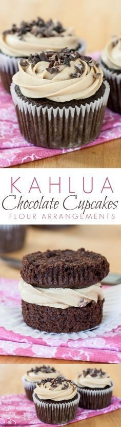 Kahlua Chocolate Cupcakes with Espresso Buttercream Frosting