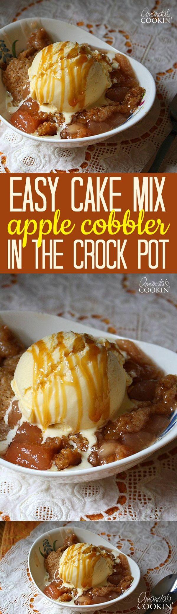 Cake Mix Apple Cobbler in the CrockPot