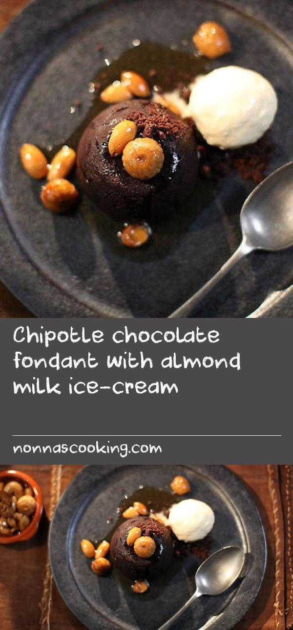 Chipotle chocolate fondant with almond milk ice-cream