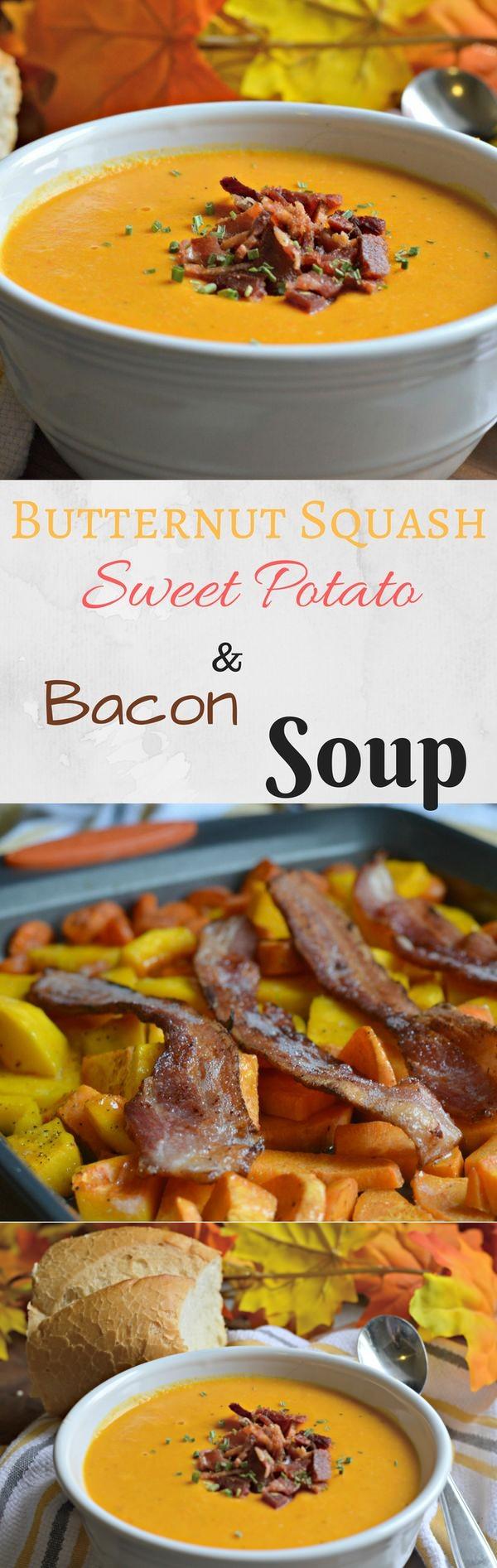 Butternut Squash, Sweet Potato, and Bacon Soup