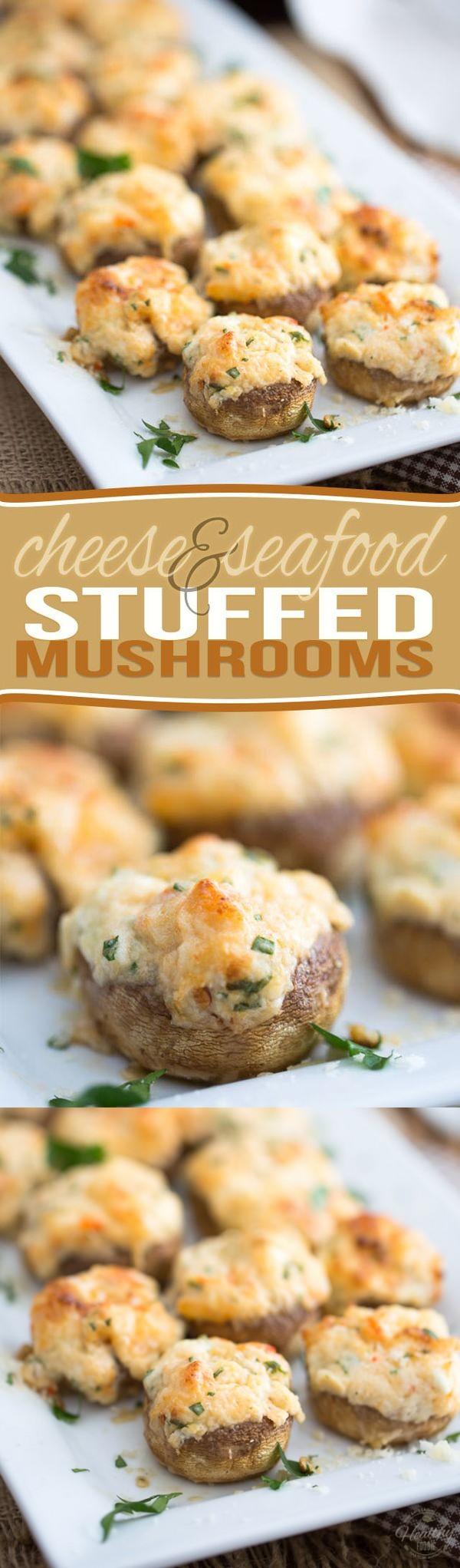 Cheese and Seafood Stuffed Mushrooms