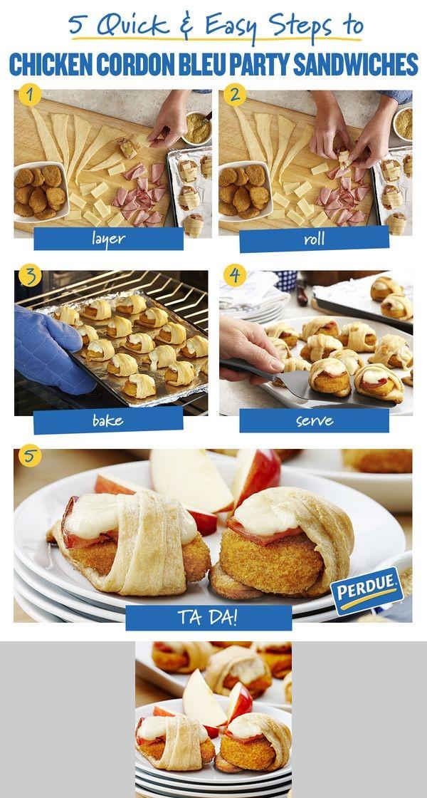 Chicken Cordon Bleu Party Sandwiches