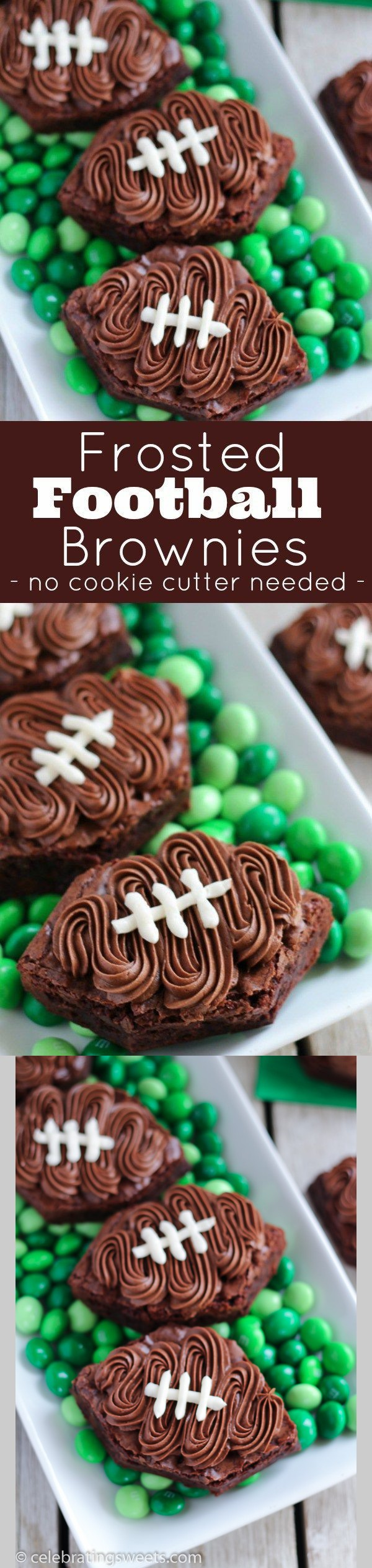 Frosted Football Brownies