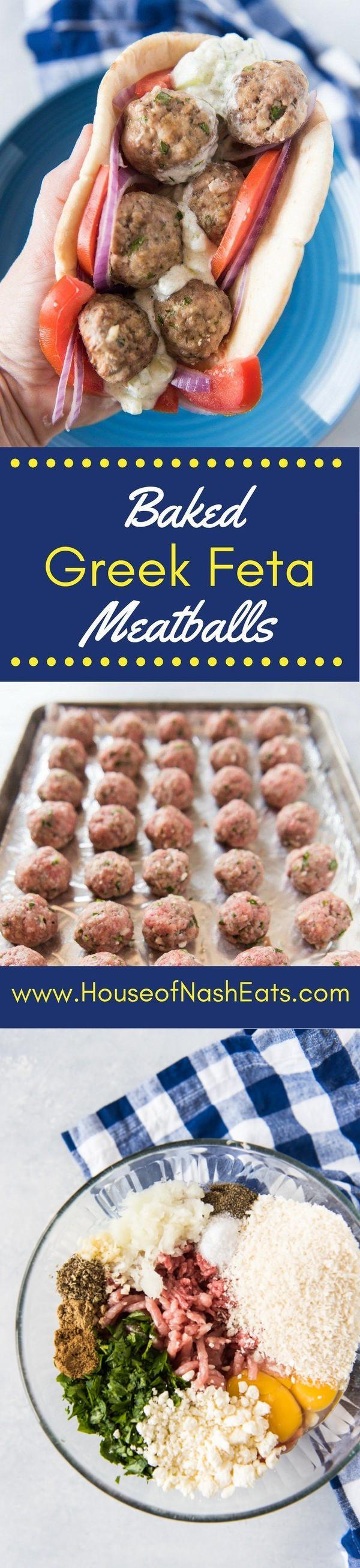 Greek Feta Meatball Gyro Sandwiches