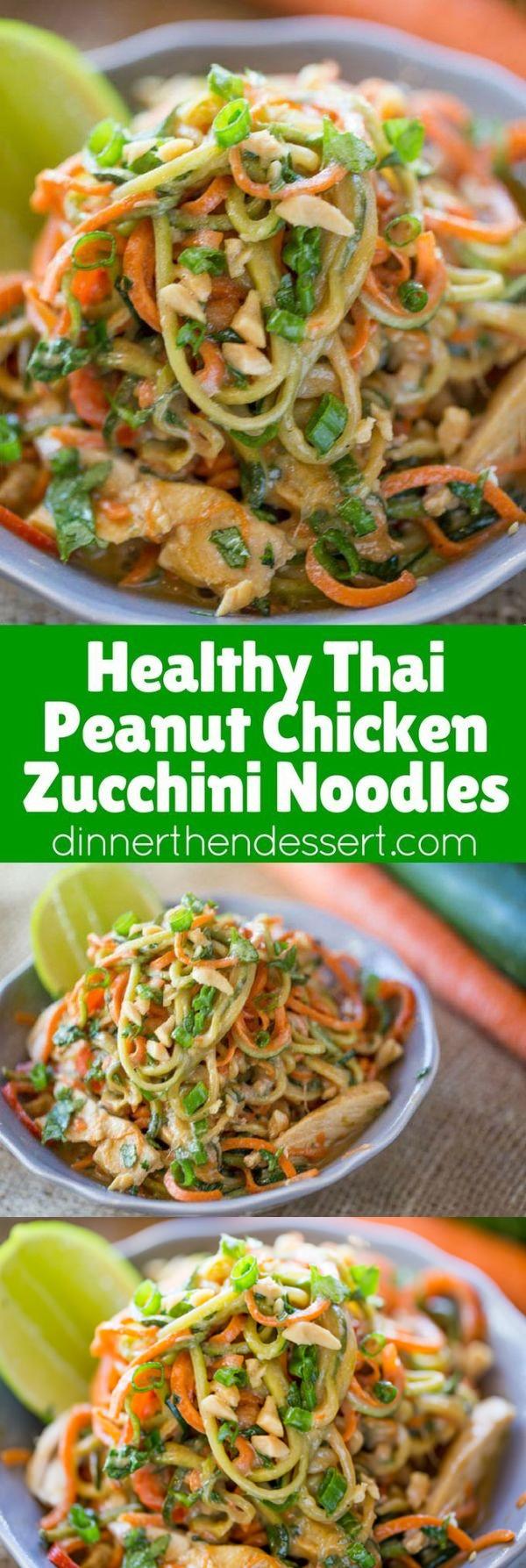 Healthy Thai Peanut Chicken Zucchini Noodles