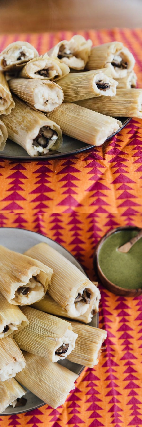 Mushroom and Goat Cheese Tamales with Mole Verde