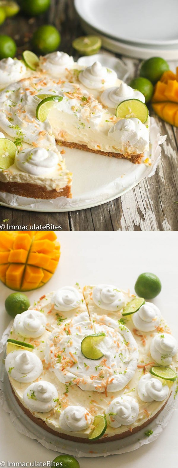 No Bake Key Lime Mango Coconut Cheese Cake Pie