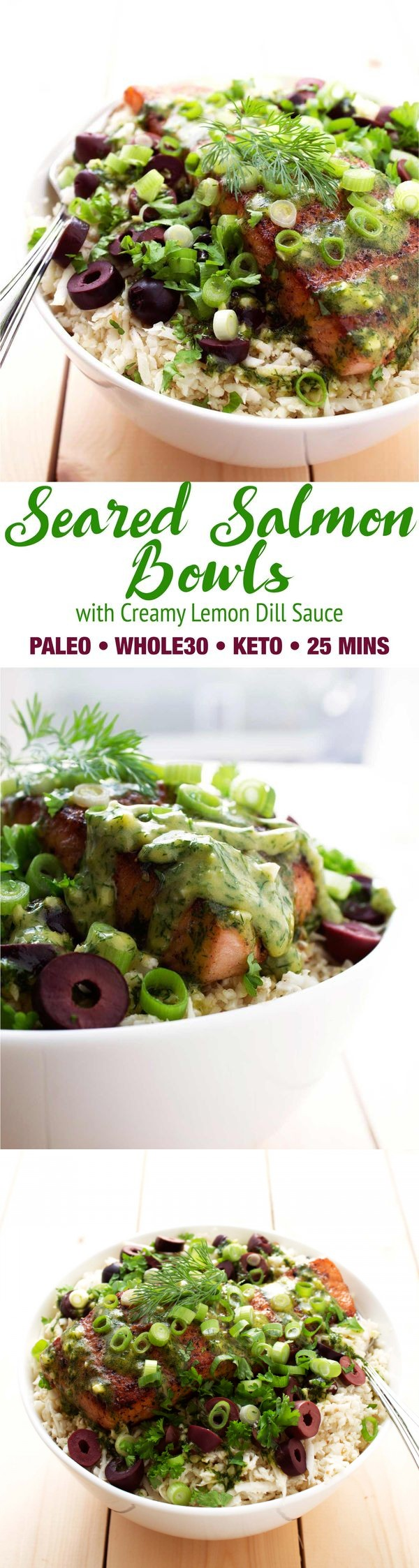 Seared Salmon Bowls with Creamy Lemon Dill Sauce