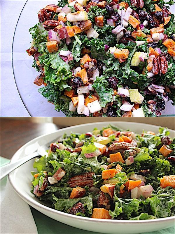 Thanksgiving Kale Salad with Maple-Lemon Tahini Dressing