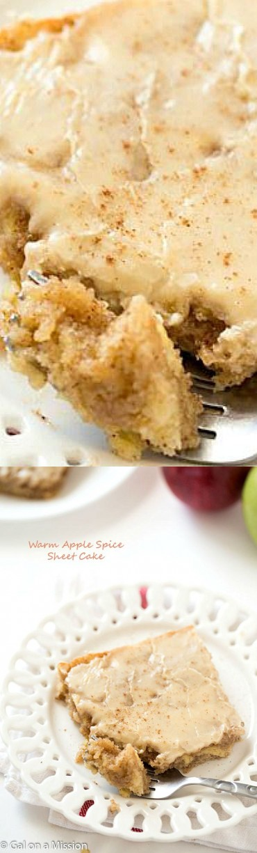 Warm Apple Spice Sheet Cake with Sweet Caramel Glaze