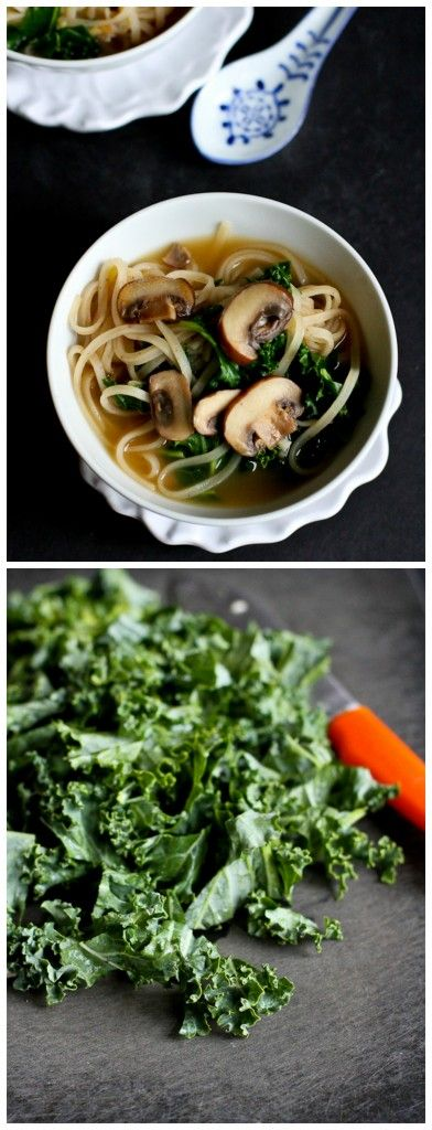 30-Minute Rice Noodle Soup with Mushrooms & Kale Recipe (Vegetarian
