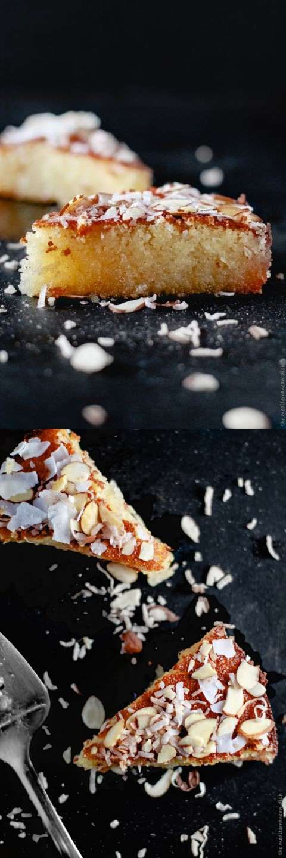 Basbousa: Almond Coconut Semolina Cake