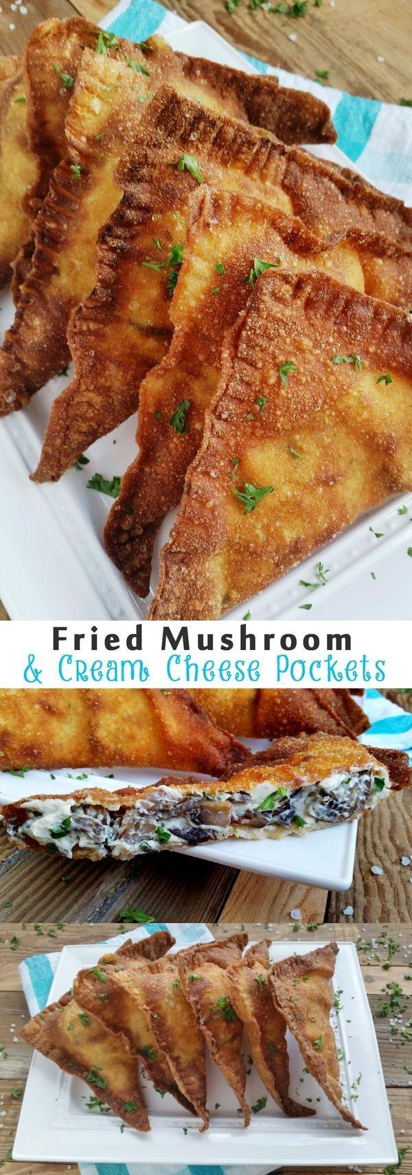 Cheesy Fried Cremini Mushroom Pockets
