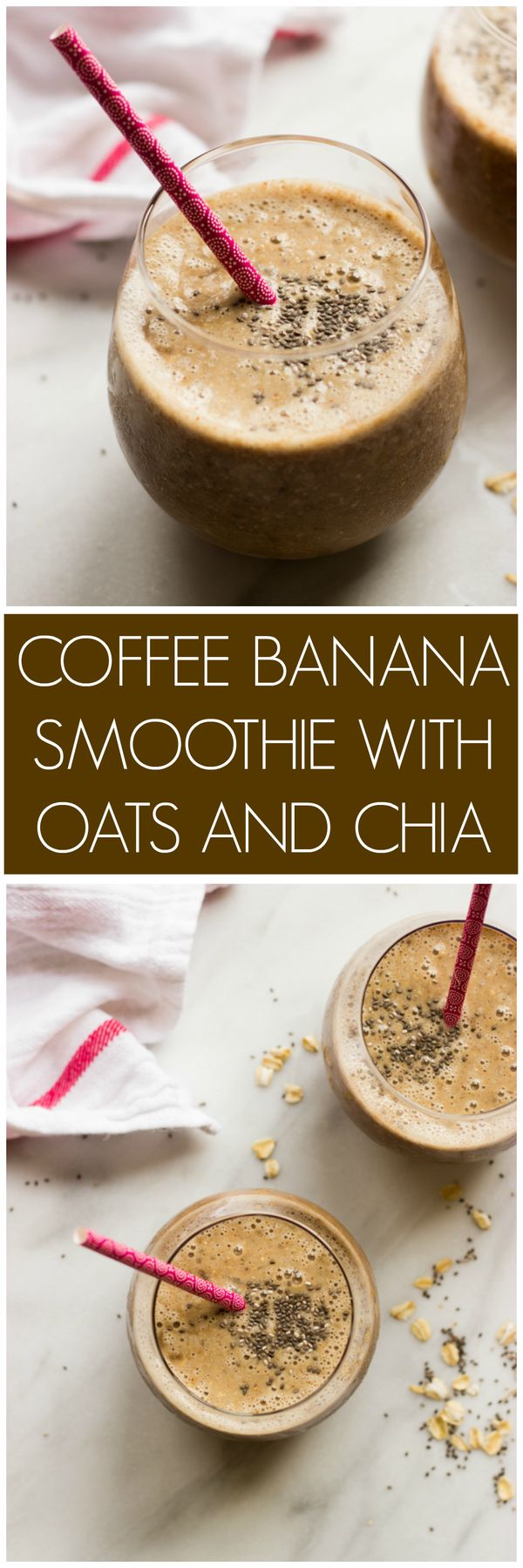 Coffee Banana Smoothie with Oats and Chia