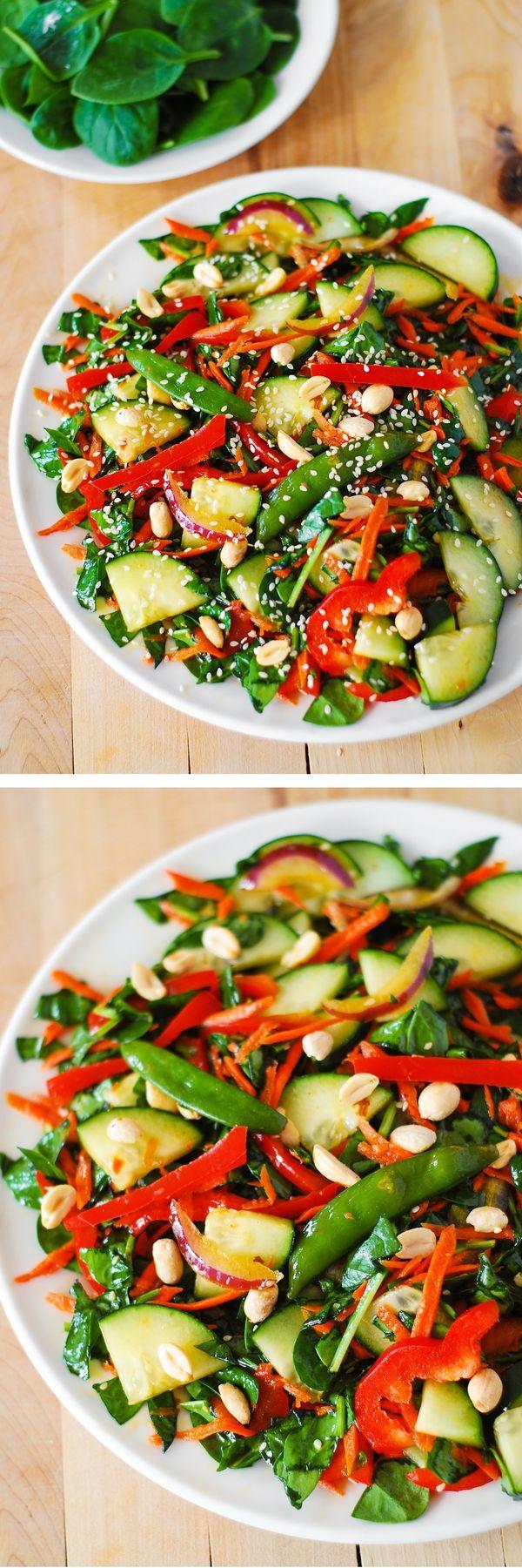 Crunchy Asian salad with peanut dressing