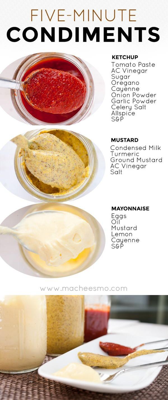 Five-Minute Ketchup, Mustard, and Mayo