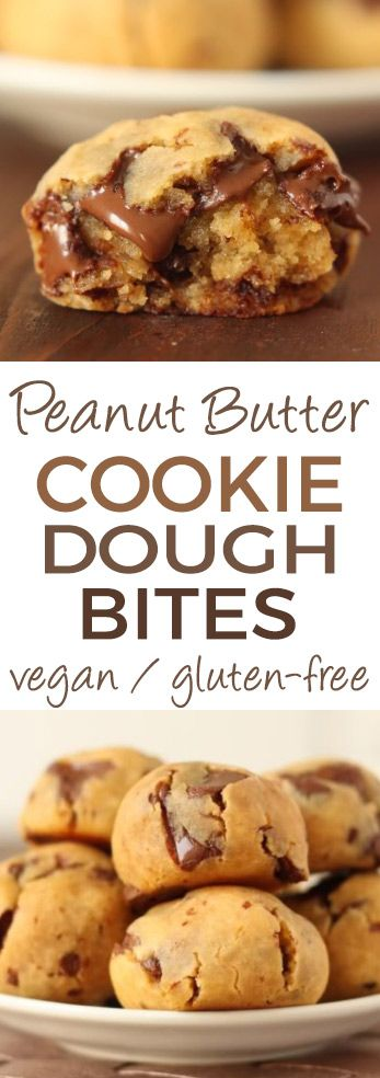 Grain-free Peanut Butter Chocolate Chip Cookie Dough Bites (gluten-free with vegan and dairy-free options