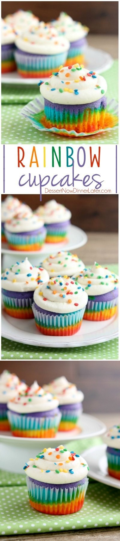 Layered Rainbow Cupcakes