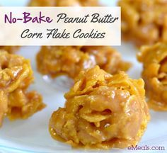 No-Bake Peanut Butter Corn Flake Cookies