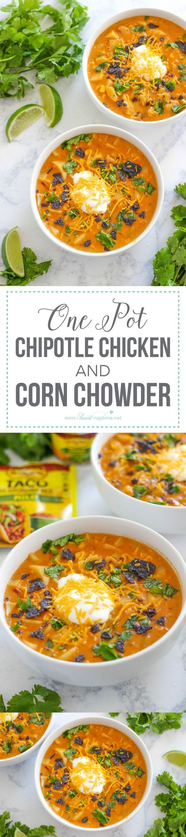 One Pot Chipotle Chicken and Corn Chowder