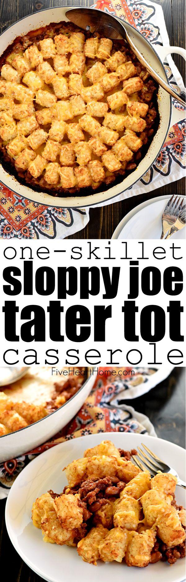 One-Skillet Sloppy Joe Tater Tot Casserole