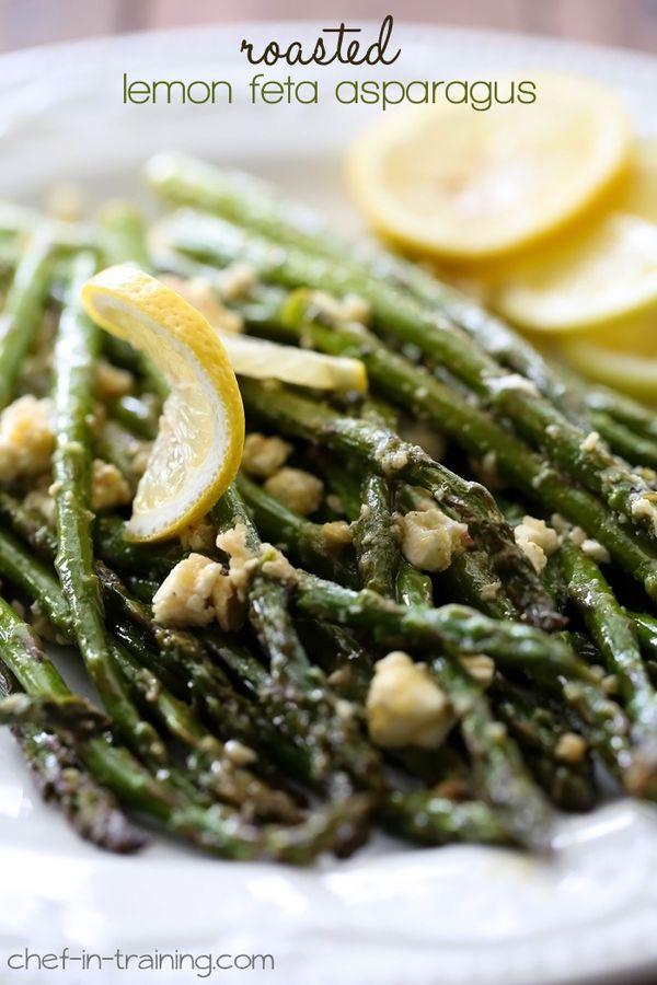 Roasted Lemon Feta Asparagus