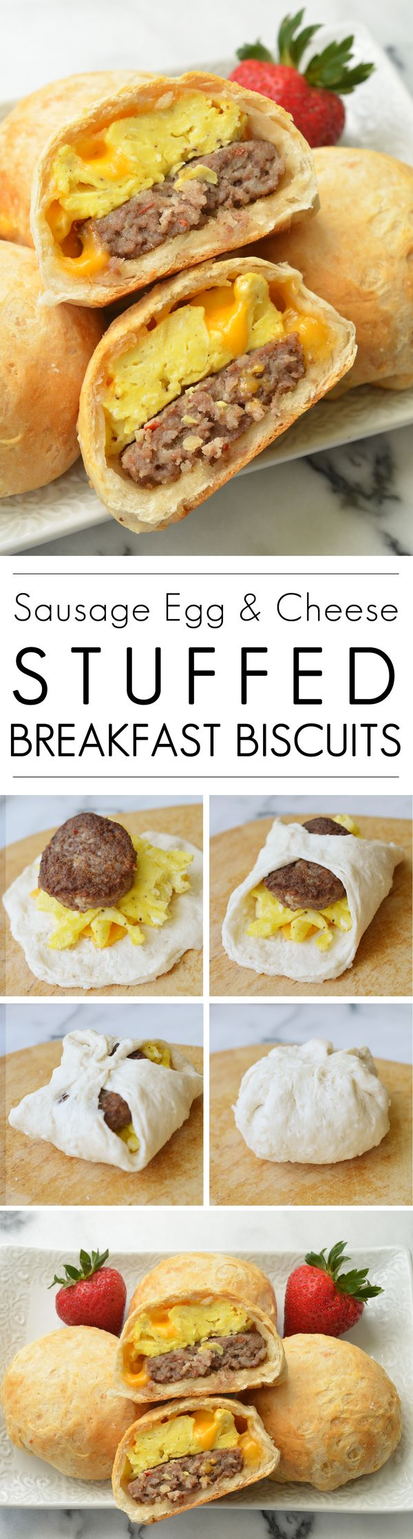 Sausage Egg and Cheese Stuffed Breakfast Biscuits