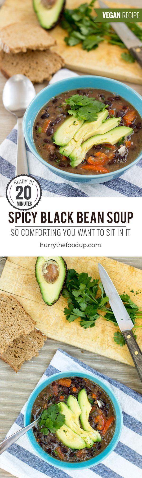 Spicy Black Bean Soup (20 Min, Vegan