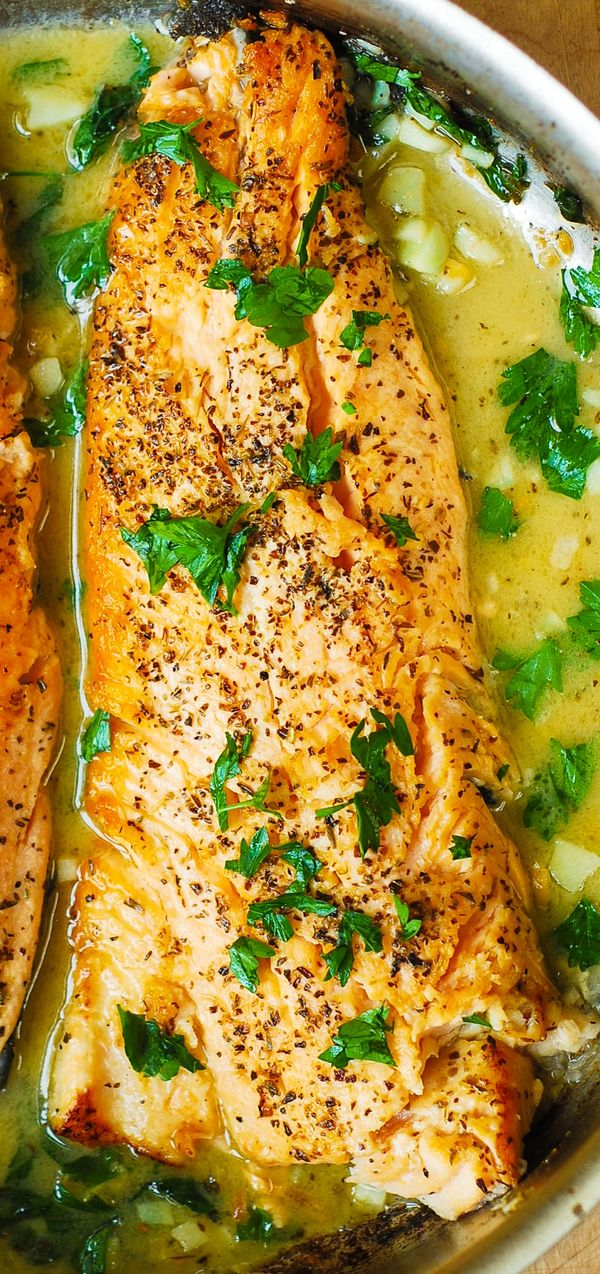 Trout with Garlic Lemon Butter Herb Sauce