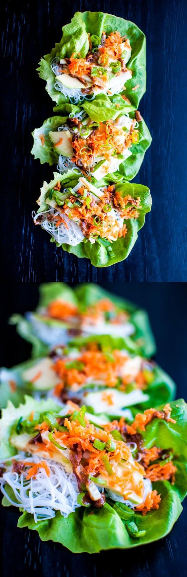 Veggie Lettuce Wraps with Peanut Sauce