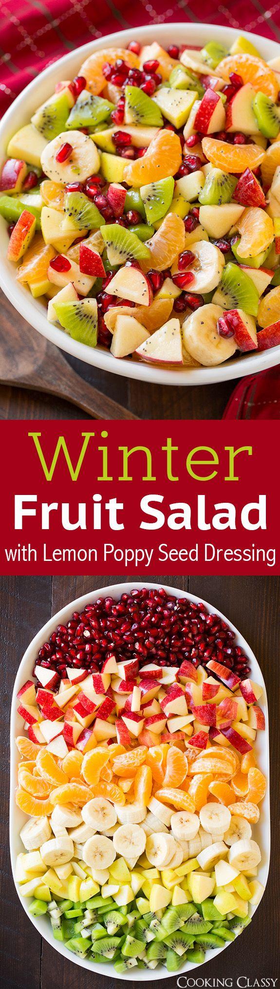 Winter Fruit Salad with Lemon Poppy Seed Dressing