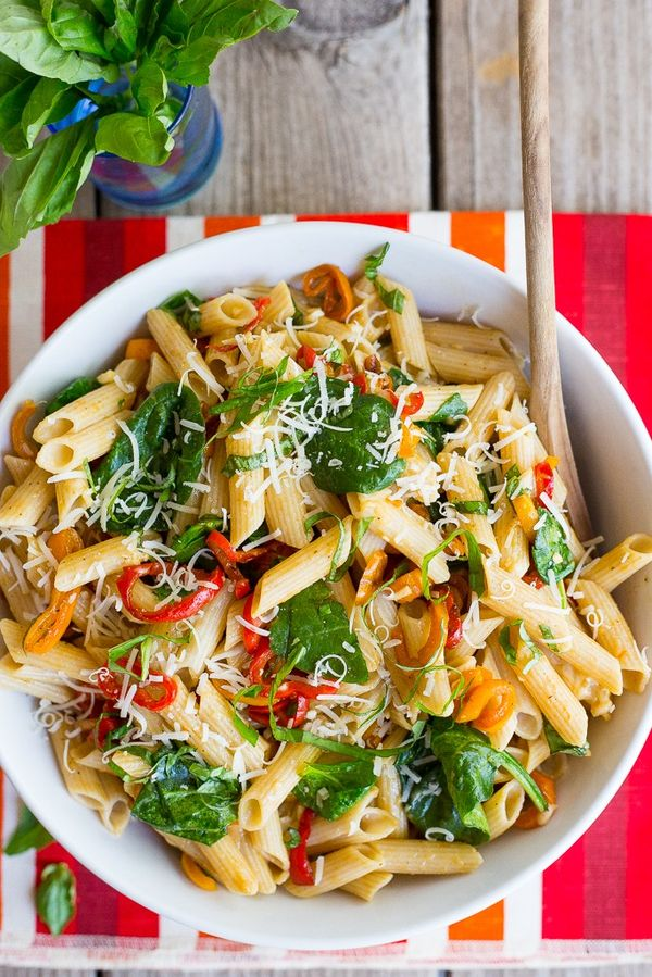 Balsamic Sweet Pepper Pasta with Spinach and Parmesan