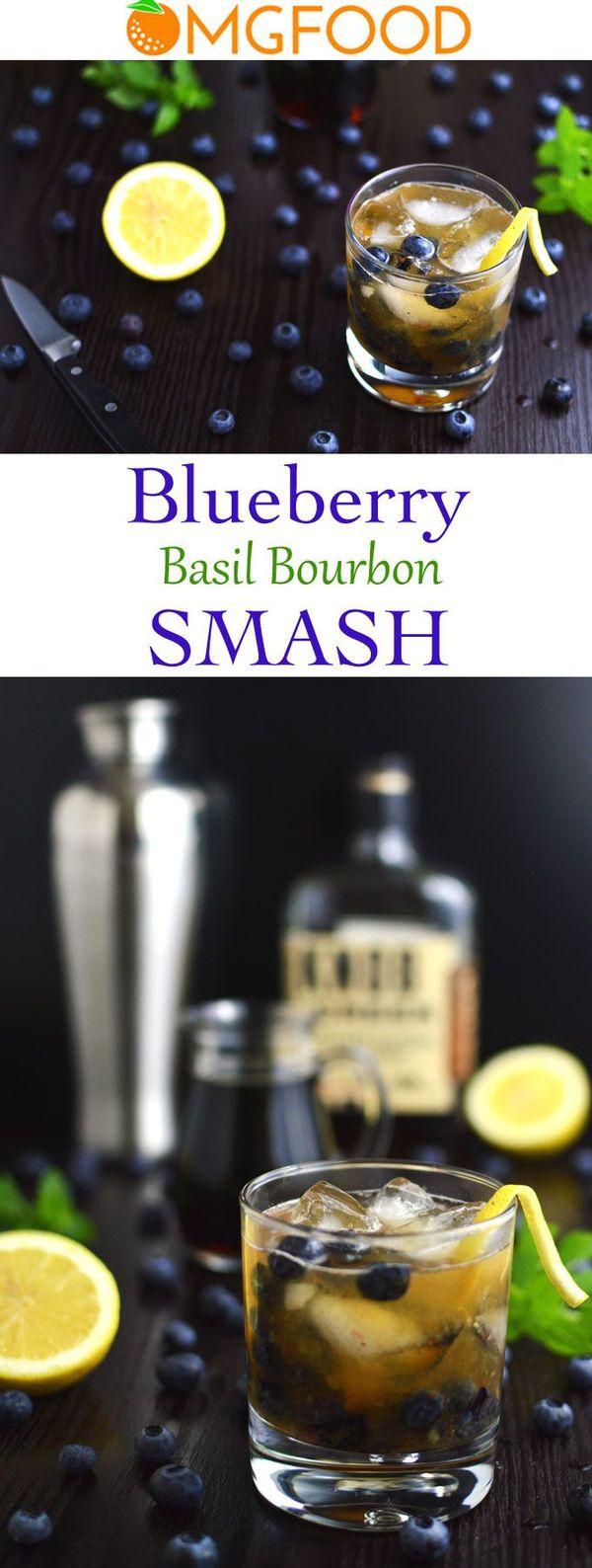 Blueberry Basil Bourbon Smash