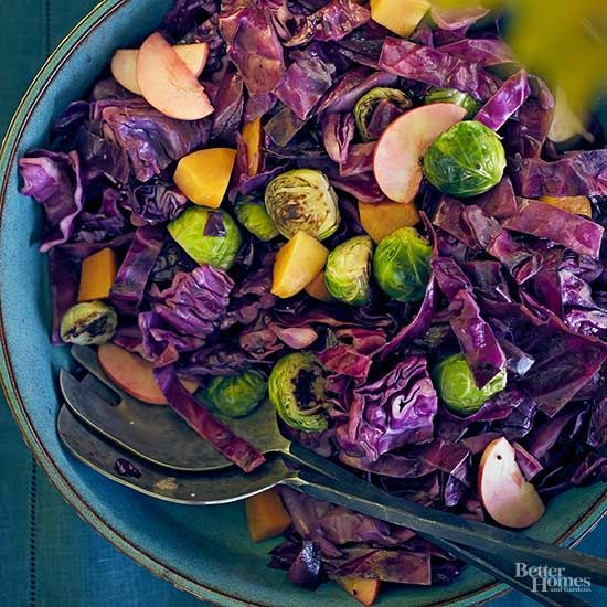 Braised Cabbage with Brussels Sprouts and Squash