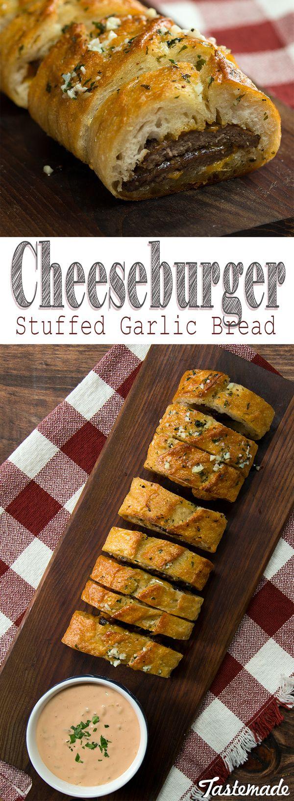 Cheeseburger-Stuffed Garlic Bread
