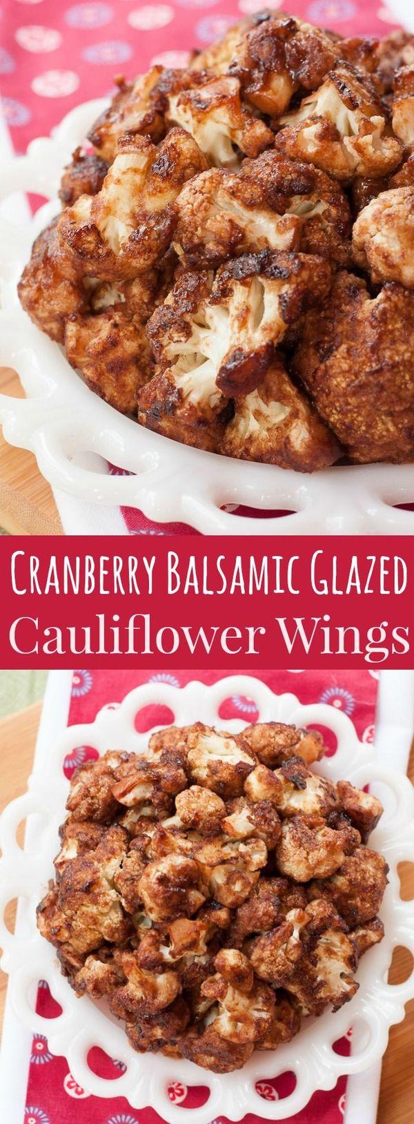 Cranberry Balsamic Glazed Cauliflower Wings for #SundaySupper