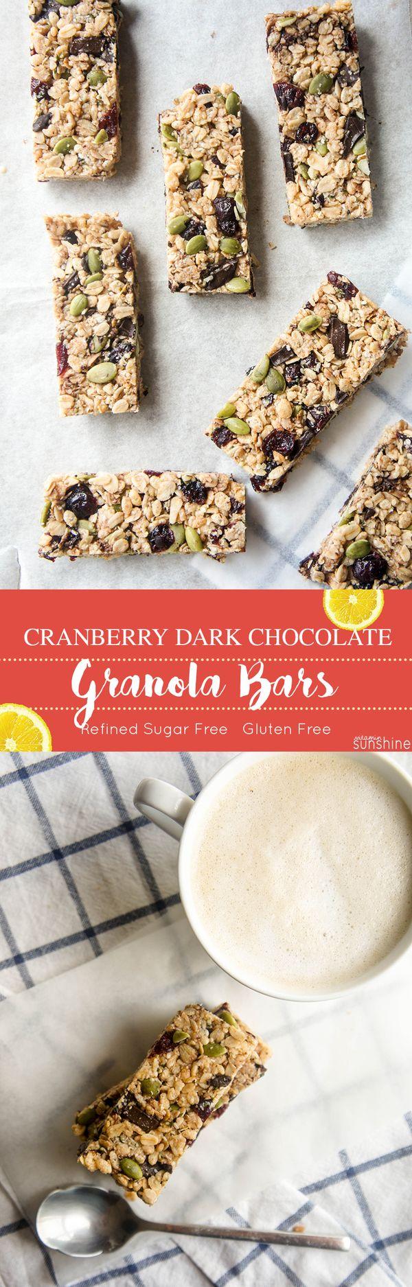 Cranberry Dark Chocolate Granola Bars (Gluten-Free, Refined Sugar-Free