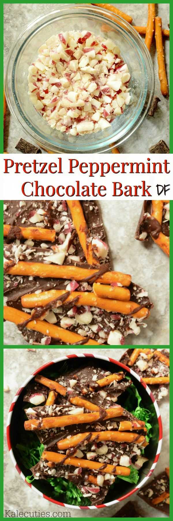 Dairy-free Pretzel Peppermint Chocolate Bark