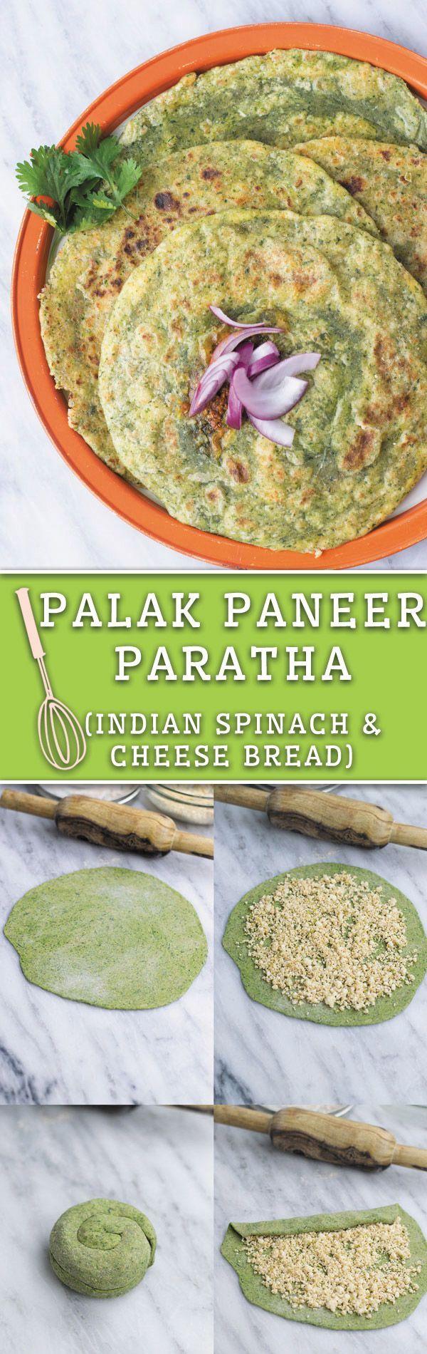 Palak Paneer Paratha - Indian Spinach Cheese Flatbread