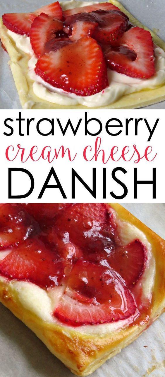 Strawberry and cream cheese danish