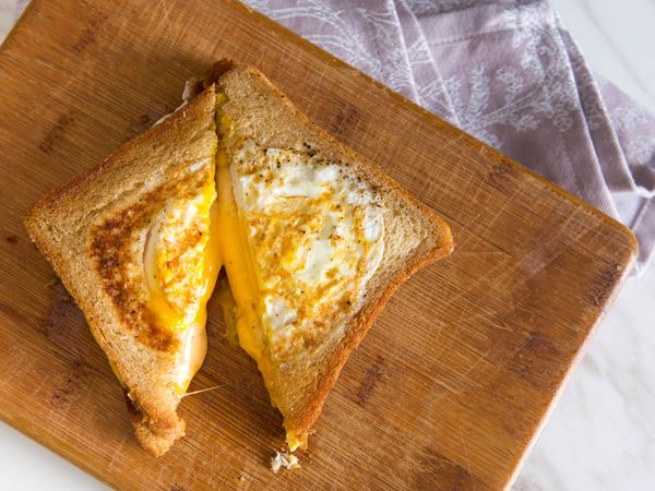 The Grilled Cheese Eggsplosion (Grilled Cheese With Fried Eggs Cooked Into the Bread