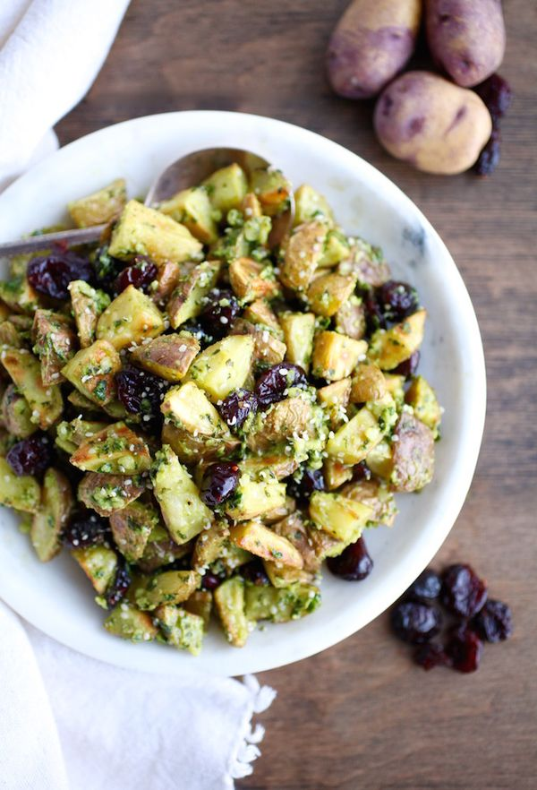Warm Pesto & Cranberry Potato Salad