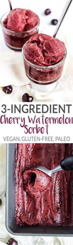 3-Ingredient Cherry Watermelon Sorbet