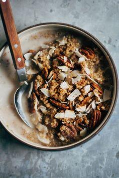 Breakfast Quinoa w/ Chai-Spiced Almond Milk + Cinnamon