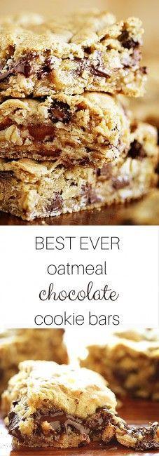 Gooey Chocolate Oatmeal Cookie Bars
